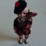 old solid plastic National Costume Scottish Boy Doll #3 7 Inch